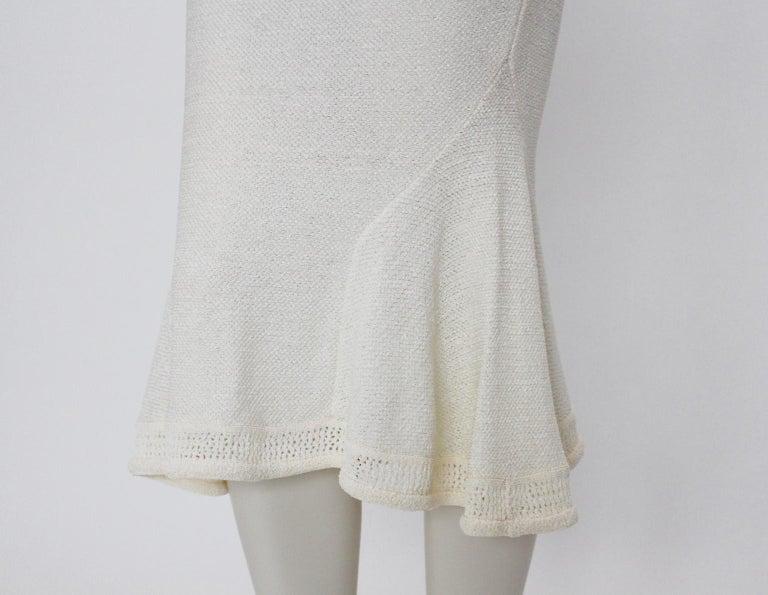 John Galliano Paris Off White Vintage Knit Viscose Pencil Skirt Peplum 1990s  For Sale 3