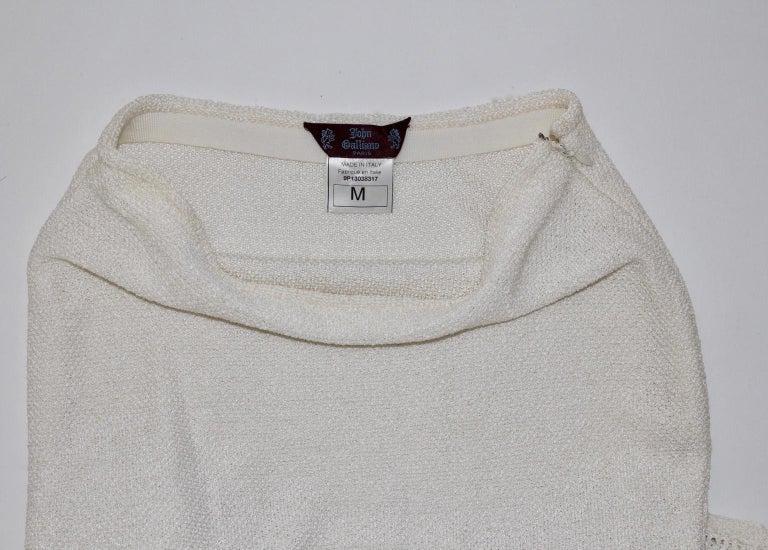 John Galliano Paris Off White Vintage Knit Viscose Pencil Skirt Peplum 1990s  For Sale 4
