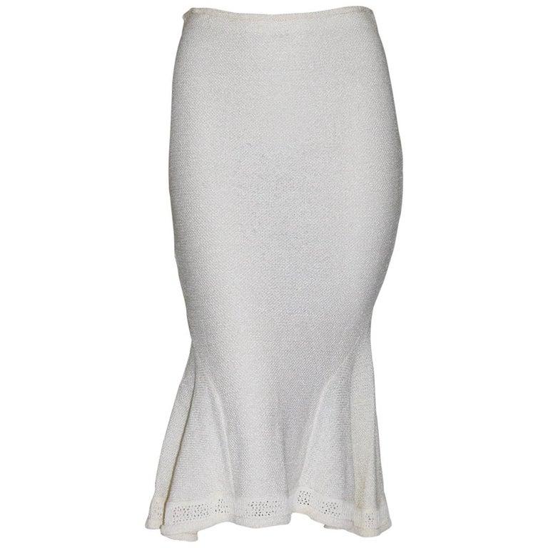 John Galliano Paris Off White Vintage Knit Viscose Pencil Skirt Peplum 1990s  For Sale