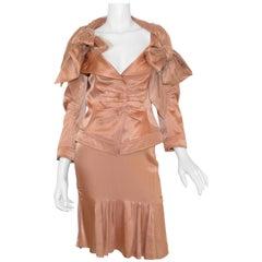 John Galliano Peach Satin Skirt Set with Tulle Bow Tie