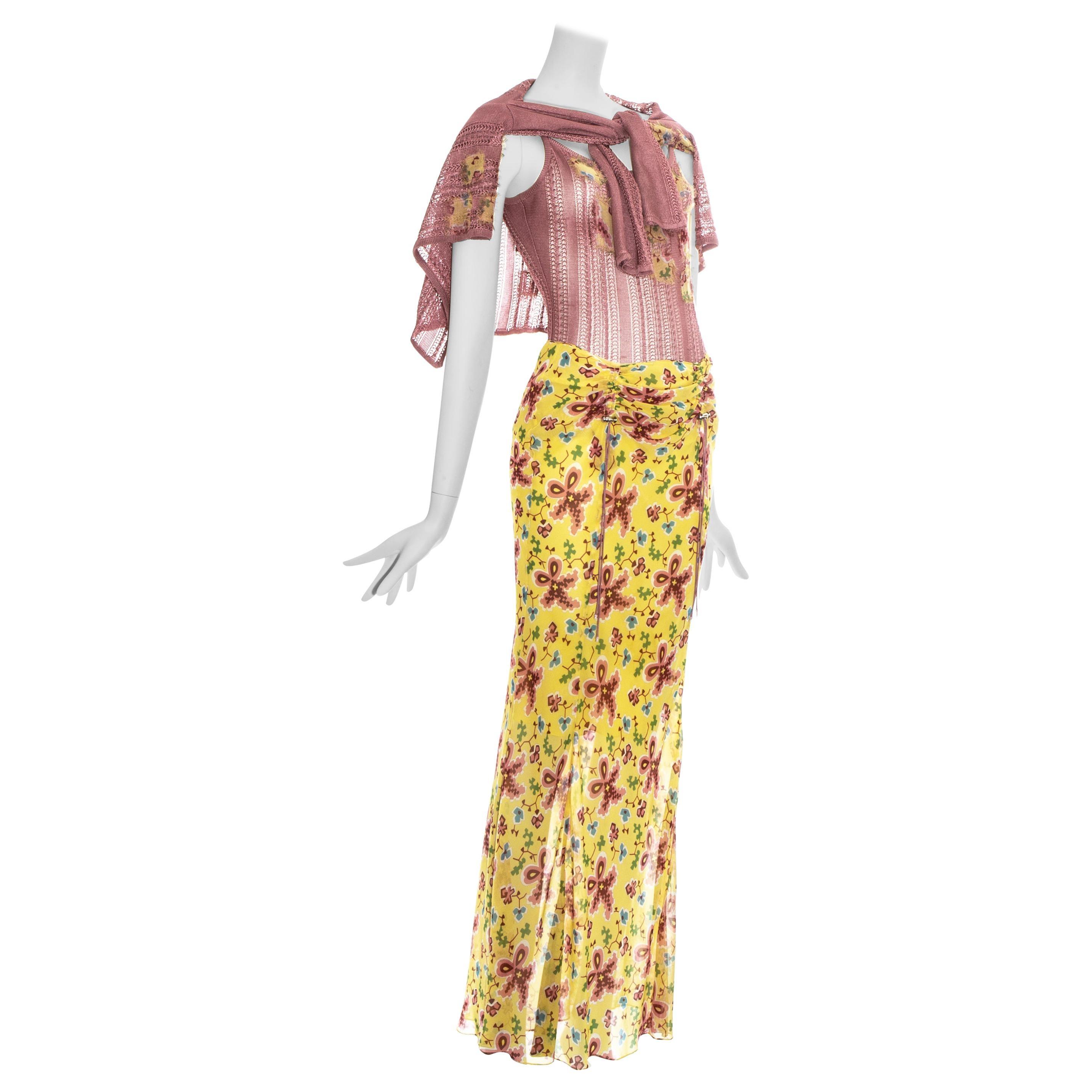 John Galliano pink and yellow silk maxi skirt and cardigan ensemble, ss 2002