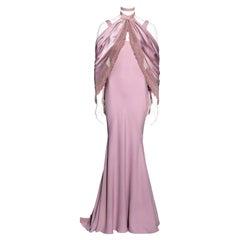 John Galliano pink satin-backed crêpe trained evening dress and shawl, fw 1998