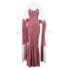 John Galliano pink satin bias cut dress with matching shawl, ss 2002
