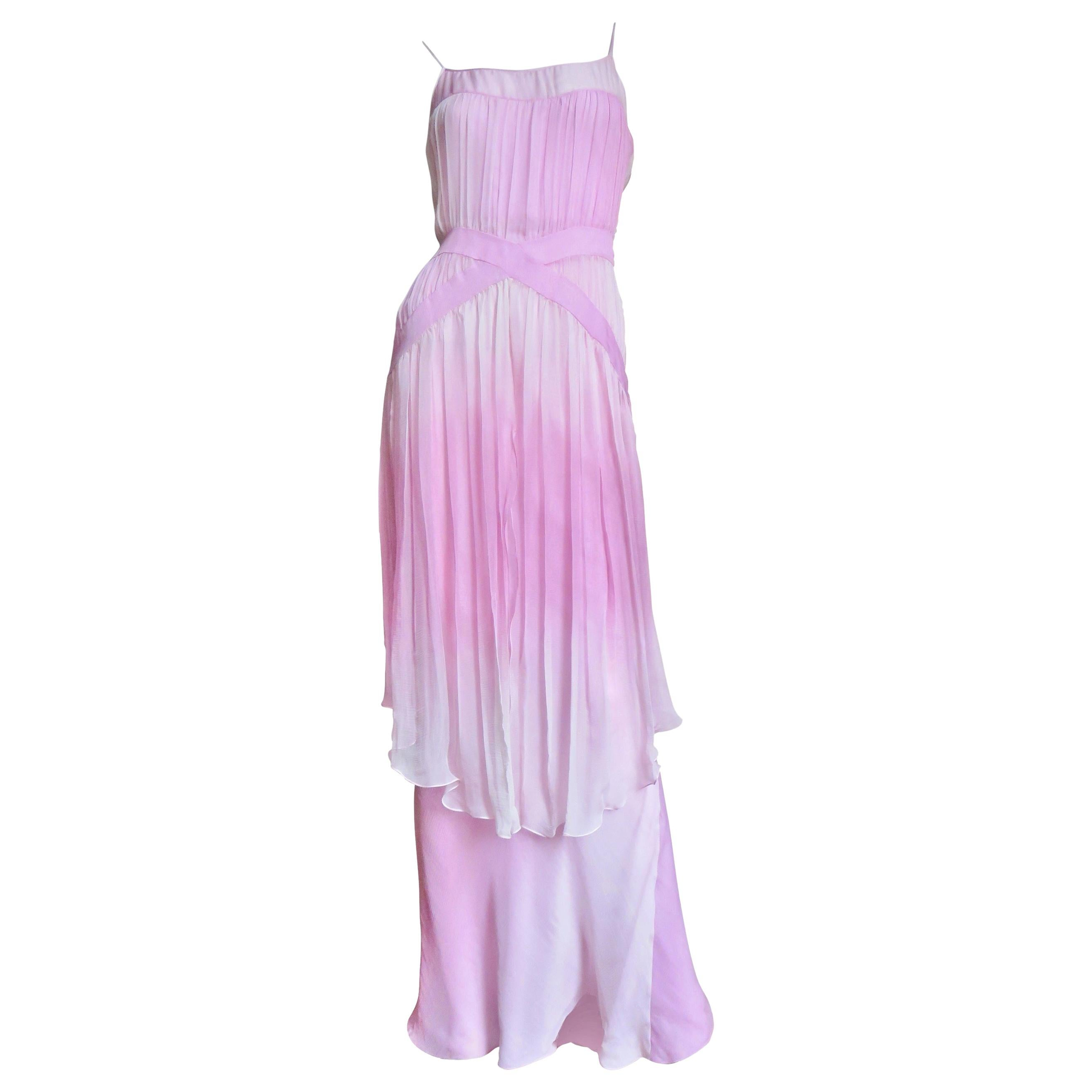 John Galliano Pink Silk Ombre Gown