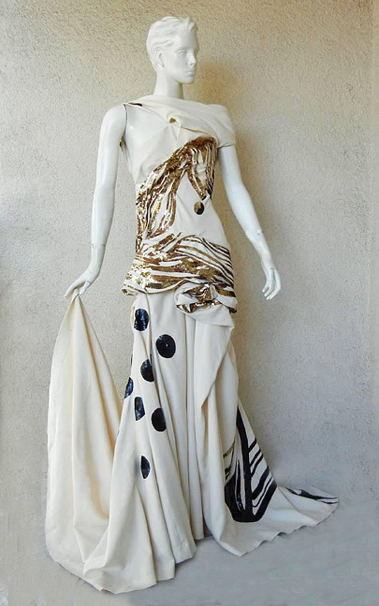 Gray John Galliano Rare 2007 Runway Collection Finale Dress Gown For Sale