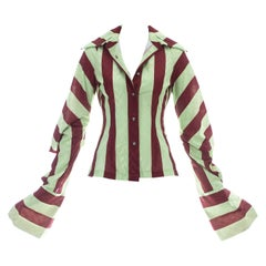 John Galliano red and yellow striped polyester blouse, ca 1991