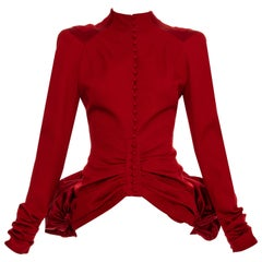 John Galliano red wool and satin bustled evening jacket, fw 2003