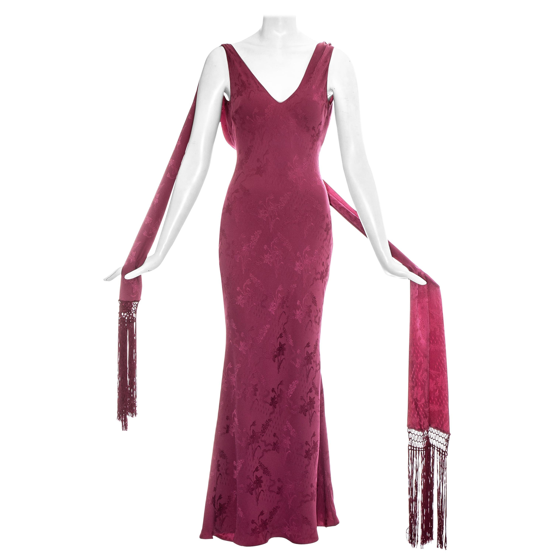 John Galliano rose pink silk brocade evening dress with fringed scarf, ss 1998
