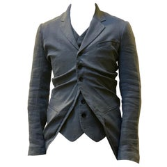 John Galliano Ruched Single Breast Jacket With Attached Waistcoat