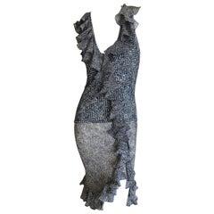 John Galliano Ruffled Vintage Herringbone Print Day Dress