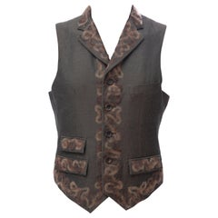 John Galliano Runway Men's Button Front Vest Embroidered Mohair Trim, Fall 2008