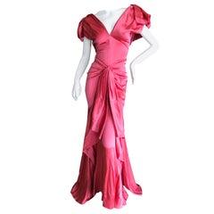 John Galliano Salmon Color Dramatic Bias Cut Evening Dress Spring 2002
