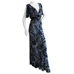 John Galliano Sheer Gray and Black Devore Velvet Vintage Low Cut Evening Dress