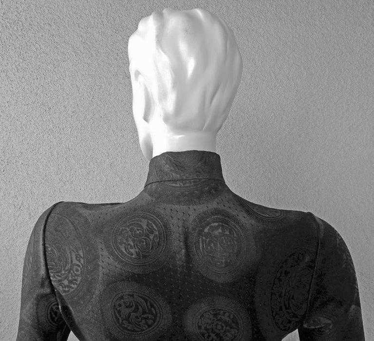 John Galliano Signature Vintage Cheongsam Silk Jacquard Dress Gown For Sale 1
