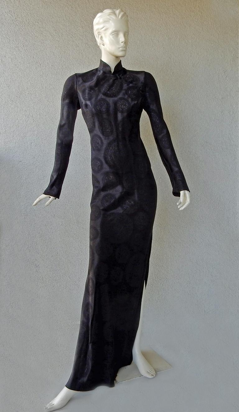 John Galliano Signature Vintage Cheongsam Silk Jacquard Dress Gown For Sale 3