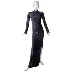 John Galliano Signature Vintage Cheongsam Silk Jacquard Dress Gown