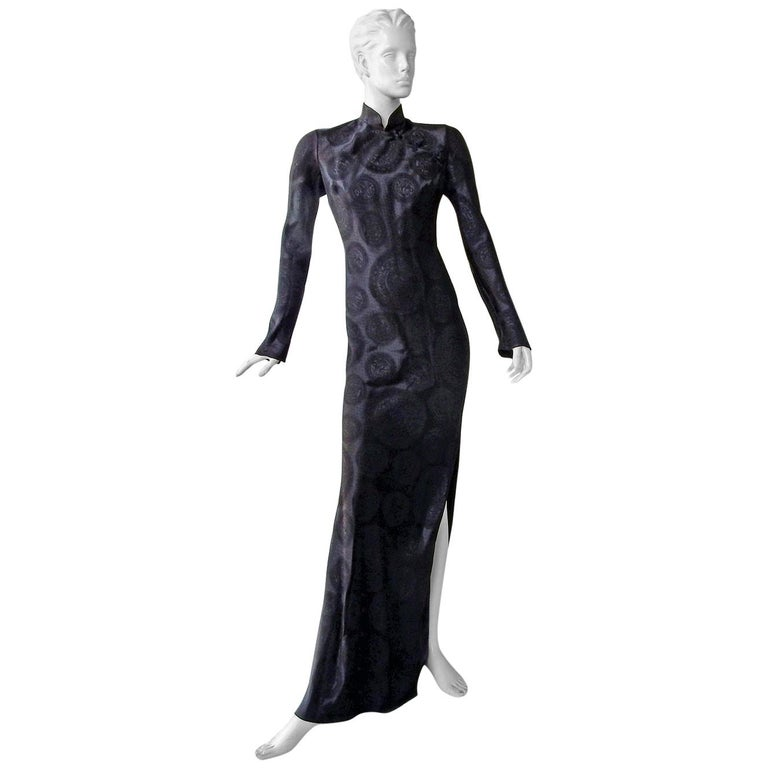John Galliano Signature Vintage Cheongsam Silk Jacquard Dress Gown For Sale