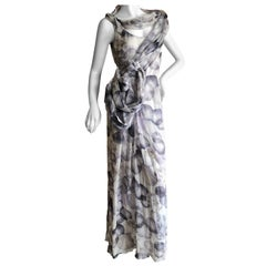 John Galliano SIlk Chiffon Evening Dress with Unusual Drapery and Florettes