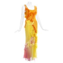 John Galliano silk chiffon ruffled evening dress, ss 2005