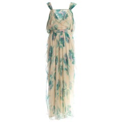 John Galliano Silk chiffon watercolour print Grecian evening dress, c. 2000s