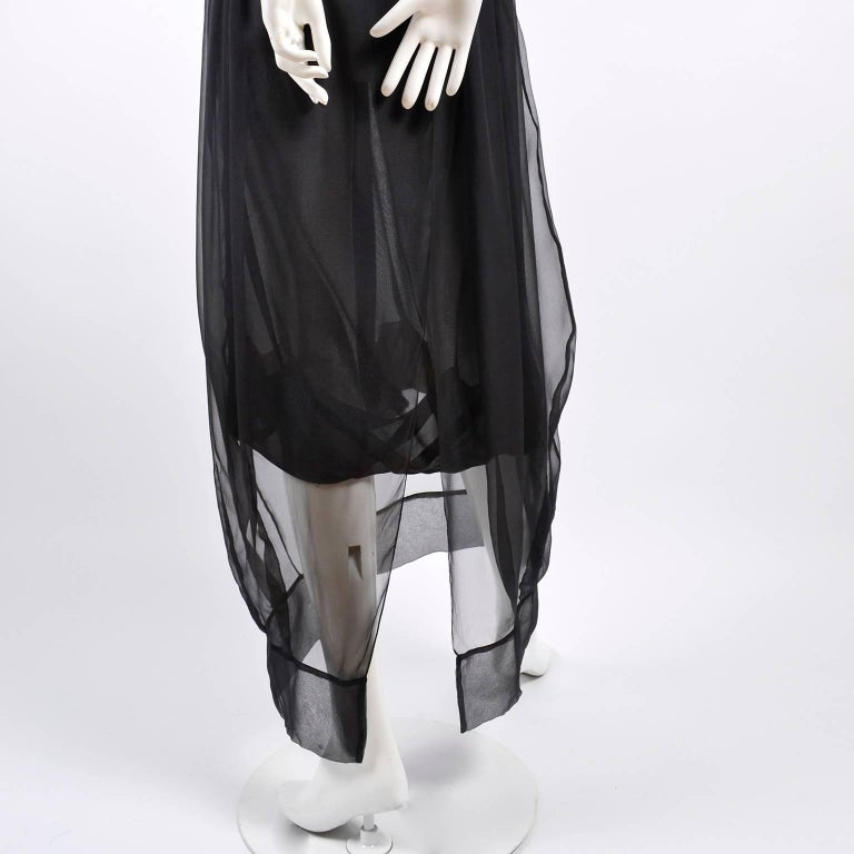 F/W 2006 John Galliano Black Sheer Silk Dress w/ Overlay  Renaissance Inspired For Sale 11