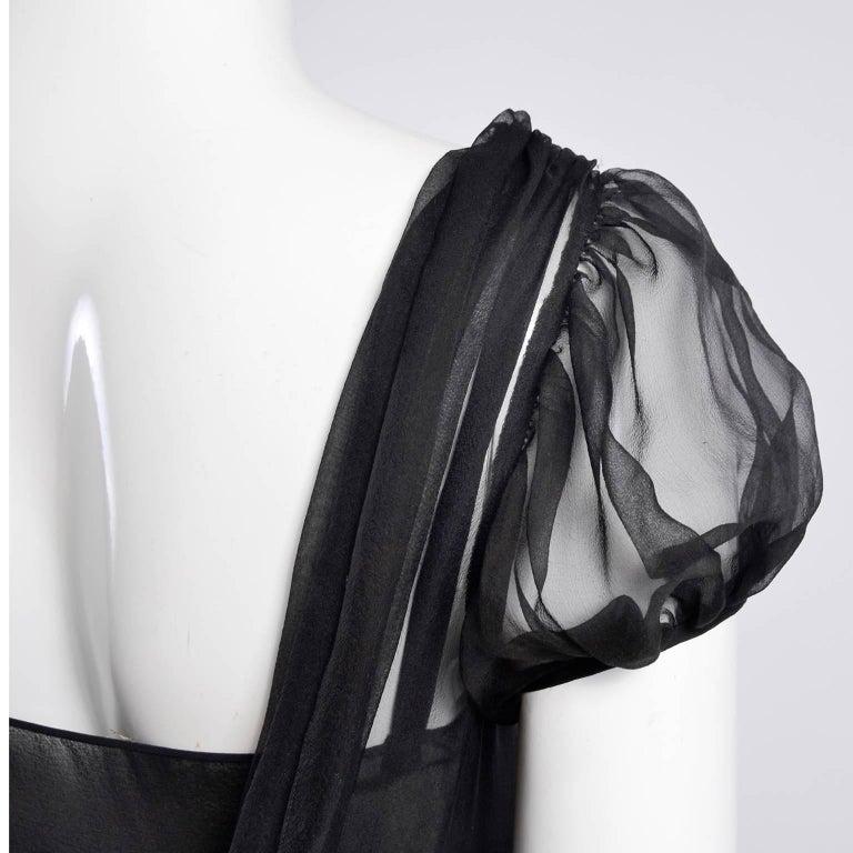 F/W 2006 John Galliano Black Sheer Silk Dress w/ Overlay  Renaissance Inspired For Sale 6