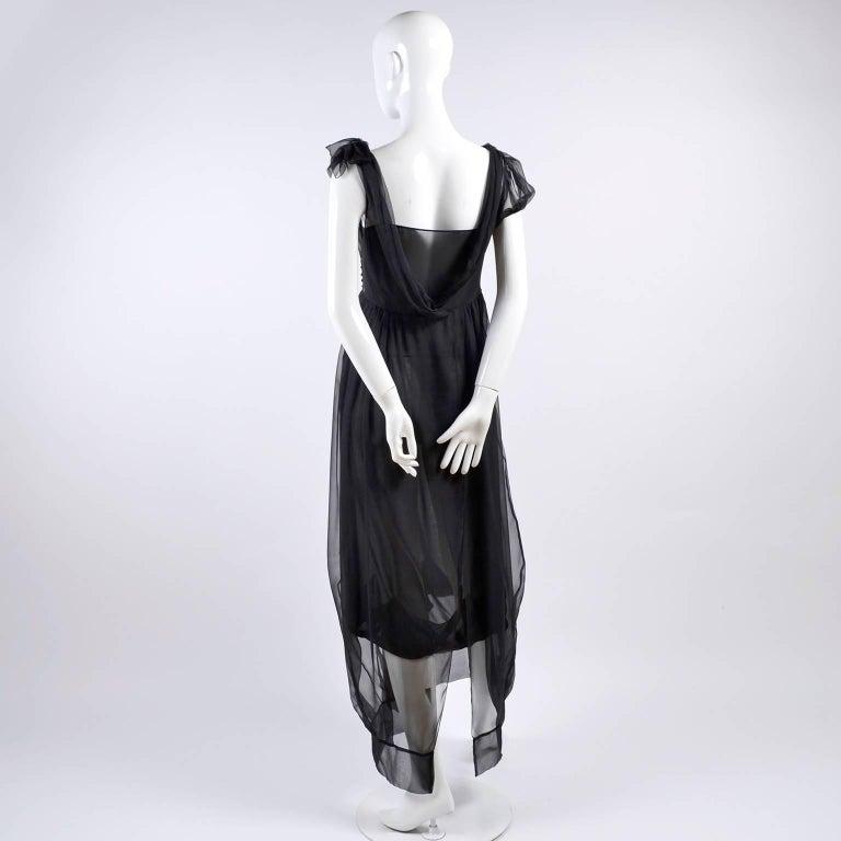 F/W 2006 John Galliano Black Sheer Silk Dress w/ Overlay  Renaissance Inspired For Sale 2