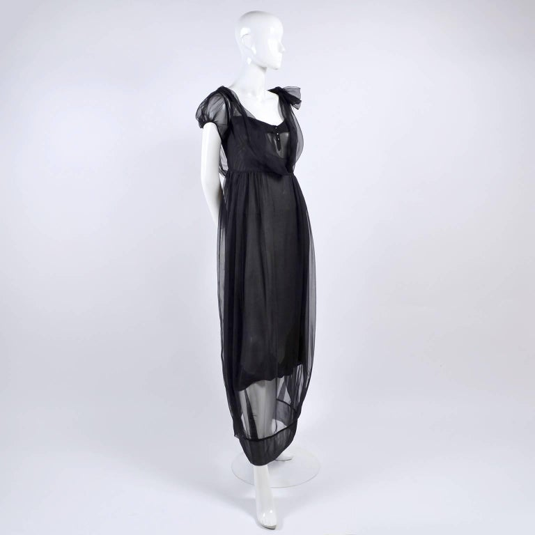F/W 2006 John Galliano Black Sheer Silk Dress w/ Overlay  Renaissance Inspired For Sale 1