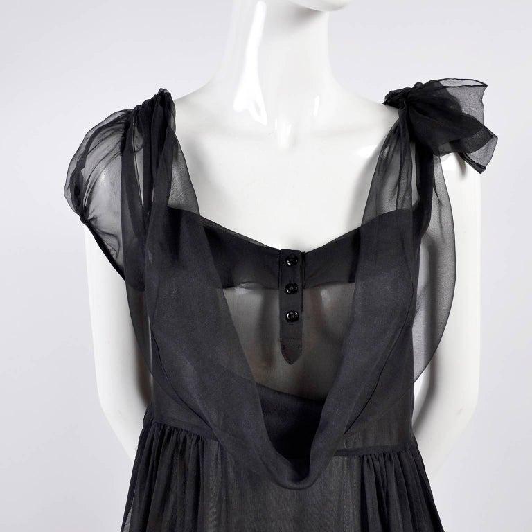 F/W 2006 John Galliano Black Sheer Silk Dress w/ Overlay  Renaissance Inspired For Sale 3