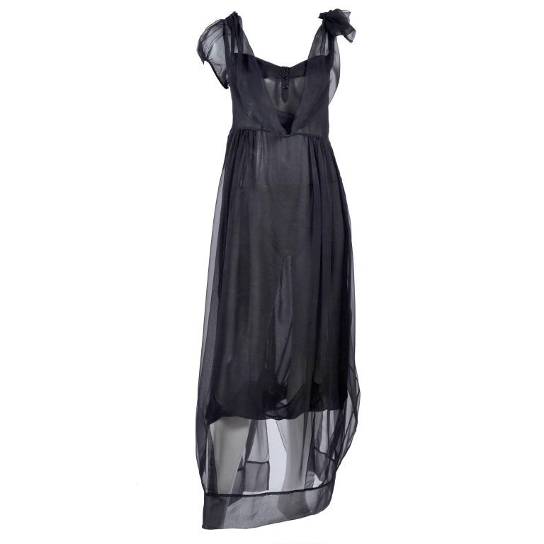 F/W 2006 John Galliano Black Sheer Silk Dress w/ Overlay  Renaissance Inspired In Excellent Condition For Sale In Portland, OR