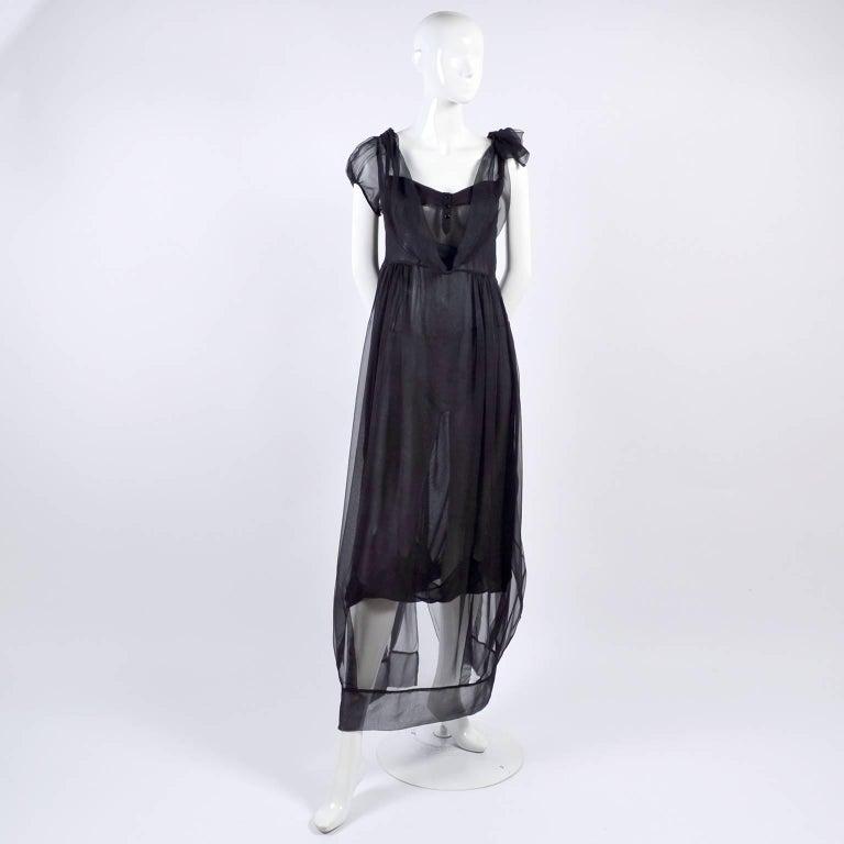 Women's F/W 2006 John Galliano Black Sheer Silk Dress w/ Overlay  Renaissance Inspired For Sale