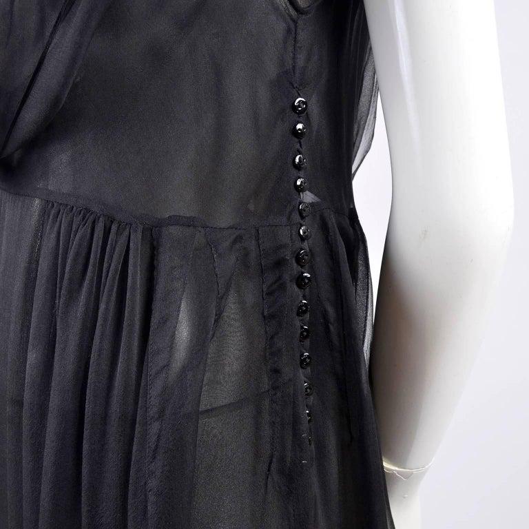 F/W 2006 John Galliano Black Sheer Silk Dress w/ Overlay  Renaissance Inspired For Sale 8