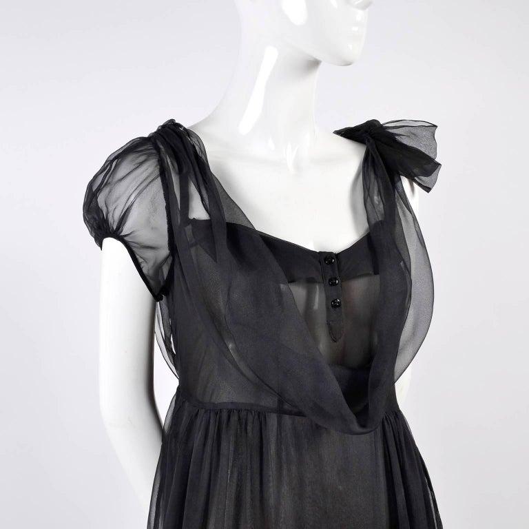 F/W 2006 John Galliano Black Sheer Silk Dress w/ Overlay  Renaissance Inspired For Sale 4