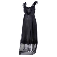 John Galliano Edwardian Style Silk Dress With Sheer Overlay and Empire Waist