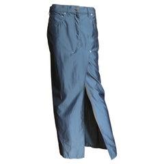 John Galliano Silk Jeans Style Maxi Skirt 1990s