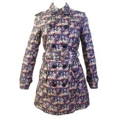 John Galliano Silk Swan Print Padded Coat