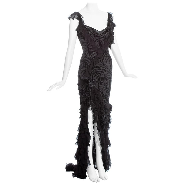 John Galliano silver and black silk flamenco evening dress with train, 2000s, offered by One Of A Kind Archive