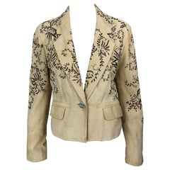 John Galliano Size 10 Suede 2000s Leather Beaded Khaki Cropped Blazer Jacket