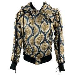 JOHN GALLIANO Size 36 Gold & Teal Newspaper Print Silk Bomber Jacket
