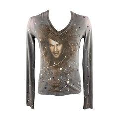 JOHN GALLIANO Size L Gray Paint Splatter DREAMS OF FASHION Shirt