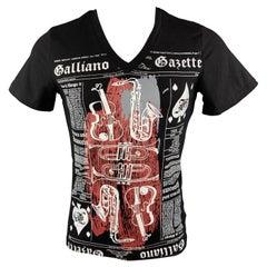 JOHN GALLIANO Size M Black GAZETTE News Print Cotton V-Neck T-shirt