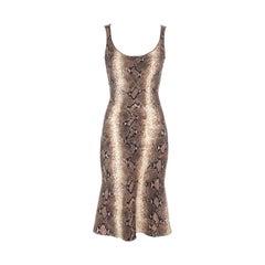 John Galliano snakeskin print mid length dress, ss 2000
