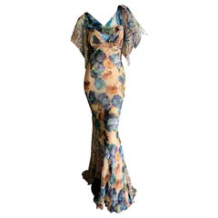 John Galliano Spring Summer 2006 Floral Silk Bias Cut Evening Dress with Ruffles
