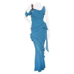 John Galliano Teal Silk Gown