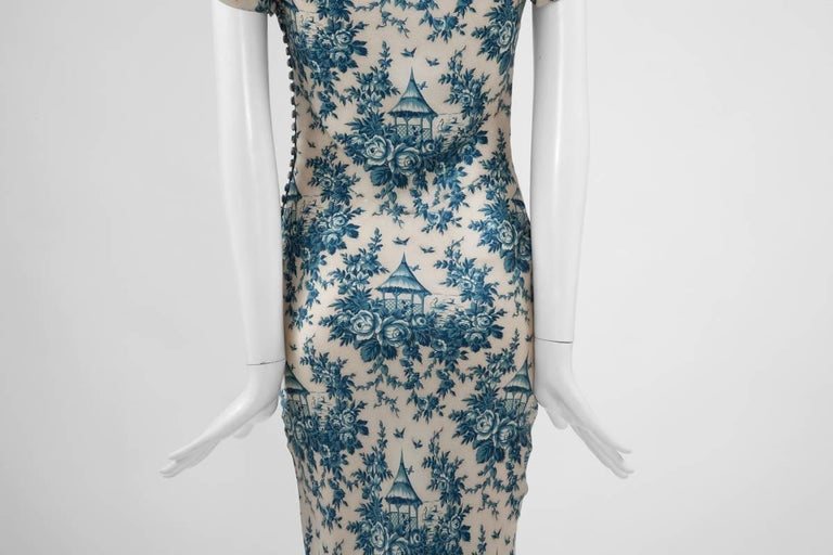 "John Galliano ""Toile de Jouy"" Bias Cut Gown and Stole  For Sale 5"