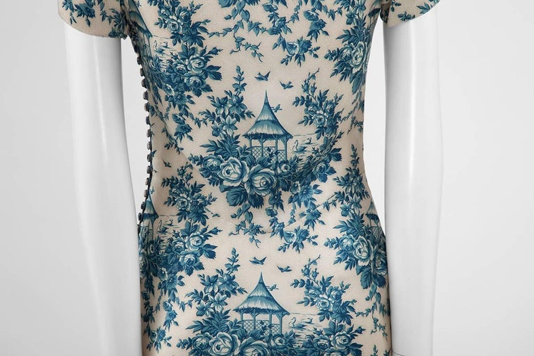 "John Galliano ""Toile de Jouy"" Bias Cut Gown and Stole  For Sale 6"
