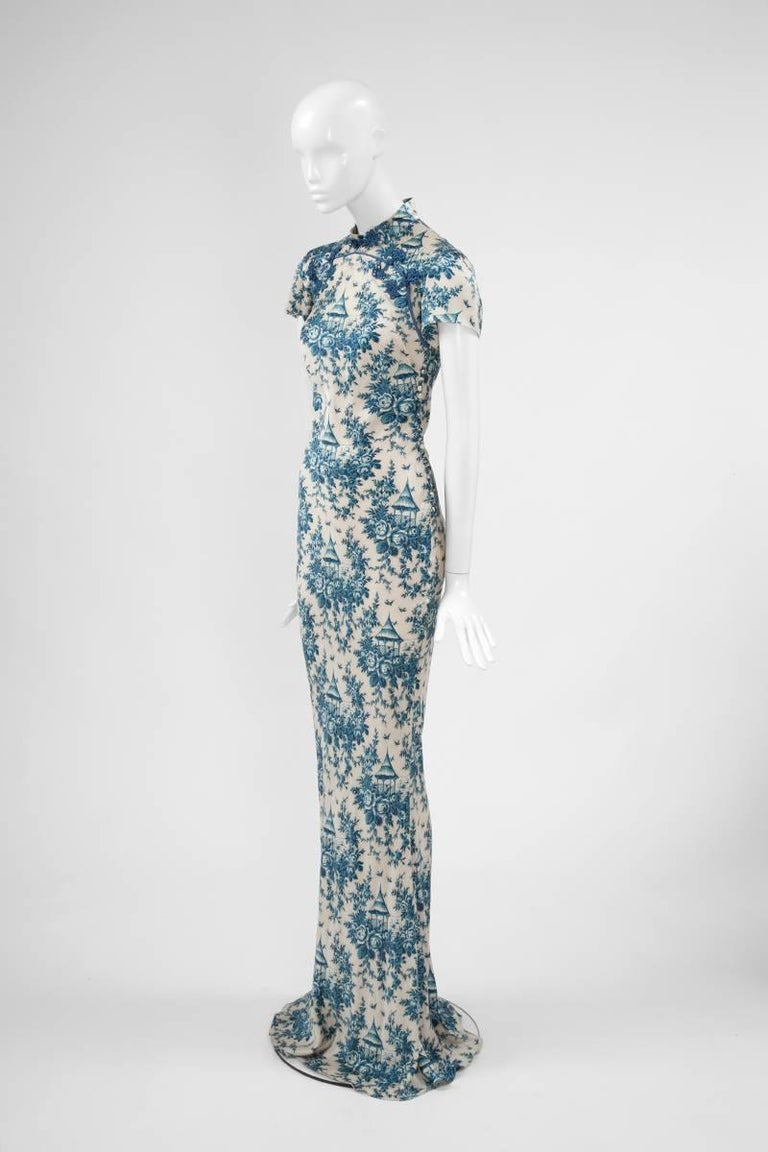 "John Galliano ""Toile de Jouy"" Bias Cut Gown and Stole  For Sale 7"