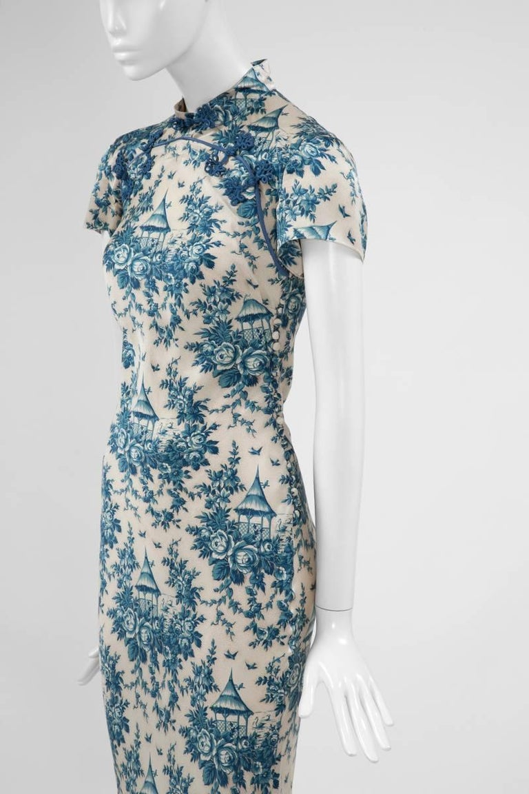"John Galliano ""Toile de Jouy"" Bias Cut Gown and Stole  For Sale 8"
