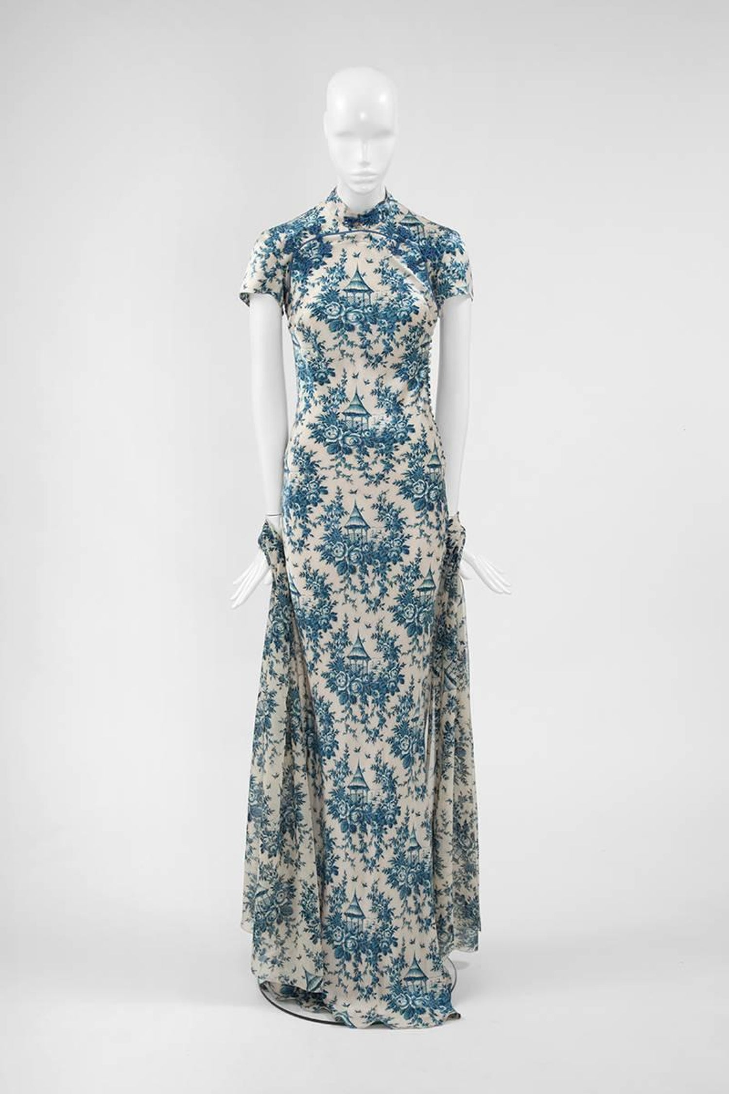 """2275b1177b635 John Galliano """"Toile de Jouy"""" Bias Cut Gown and Stole at 1stdibs"""