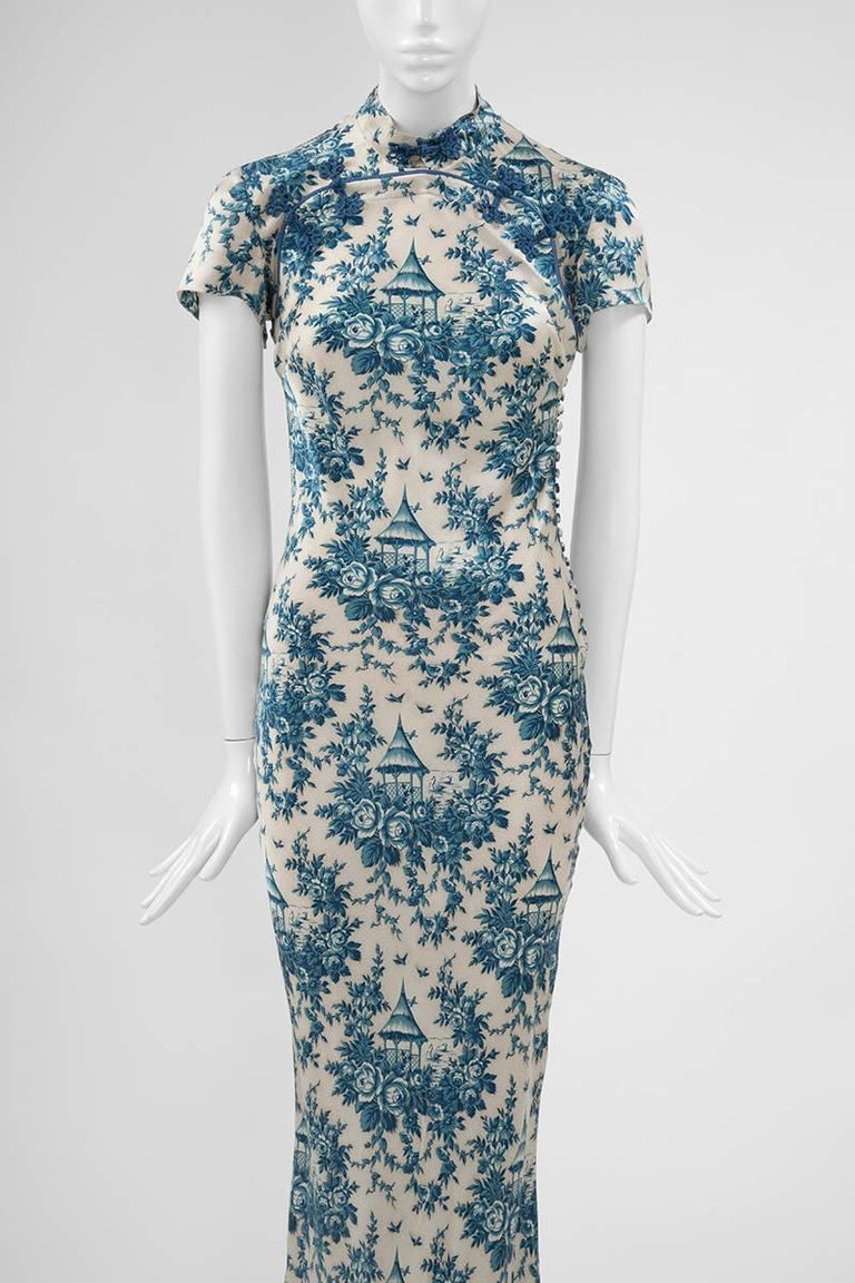 "Women's John Galliano ""Toile de Jouy"" Bias Cut Gown and Stole  For Sale"